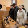Ukrainian ex-prime minister Tymoshenko speaks during a session at the Pecherskiy district court, with judge Rodion Kireyev seen in the background, in Kiev