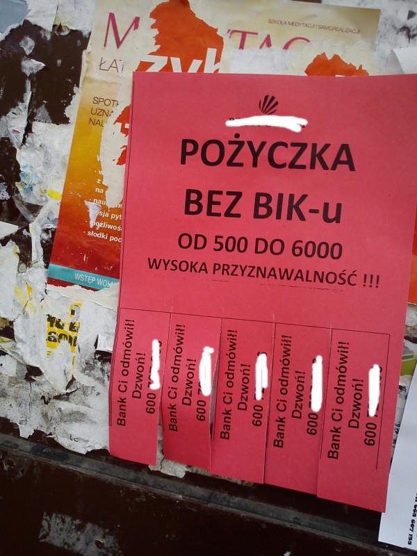 reklama pożyczki bez biku do 6000 PLN