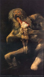 The painting SATURN by the Spanish artist GOYA.
