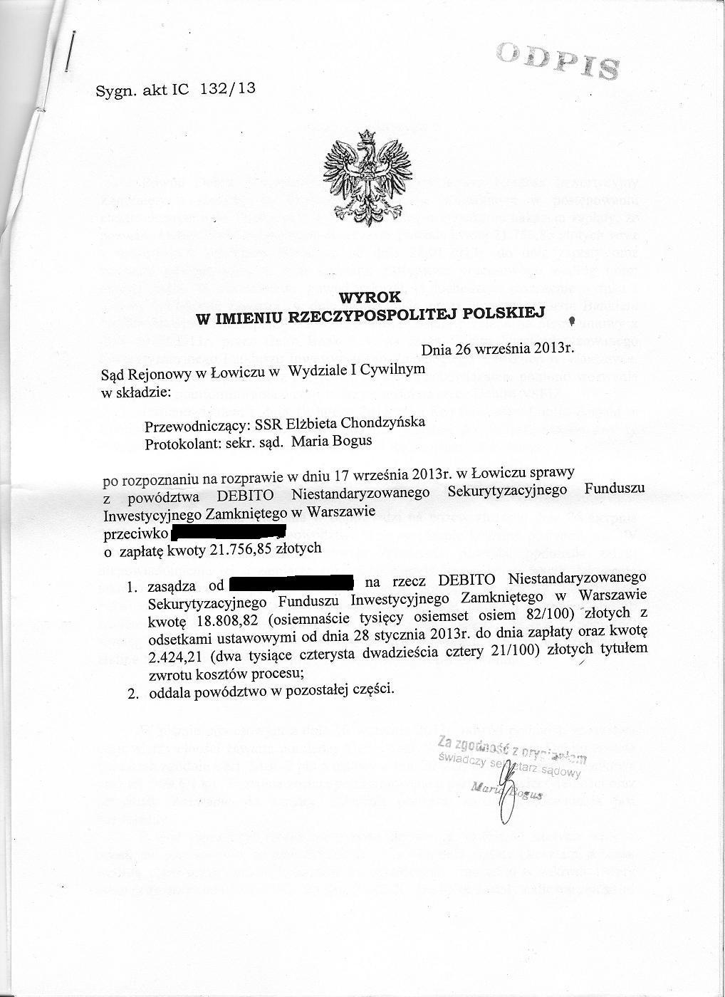 Jak Sędzia SR w Łowiczu Elżbieta Chondzyńska pisała uzasadnienie do nieistniejącego wyroku