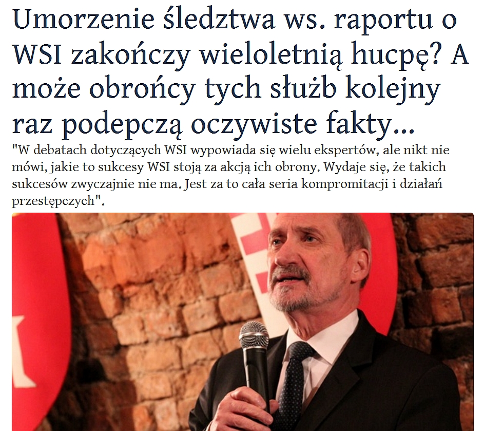 WOLNY CZYN: Zamach w Smoleńsku a umorzenie śledztwa w sprawie WSI