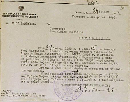 Polecenie_wykonania_wyroku_Fieldorf_1953