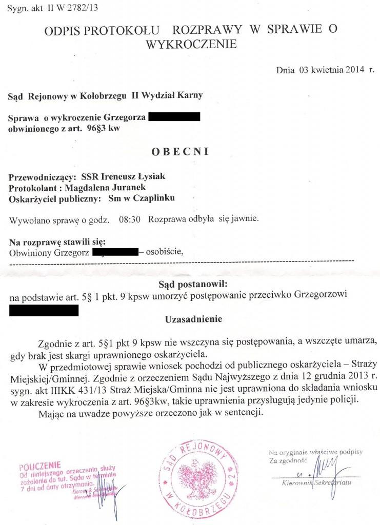 Dokument7.WYROK Umorzenie -STRAŻ MIEJSKA