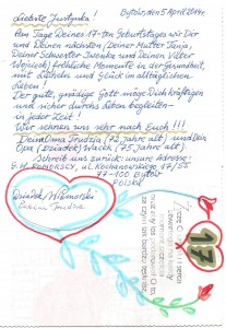 Justysia Pomorski życzenia urodzinowe od polskich dziadków Wacława i Gertruda Pomorskich
