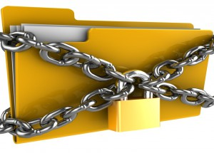 3d illustration of folde locked by chains isolated over white