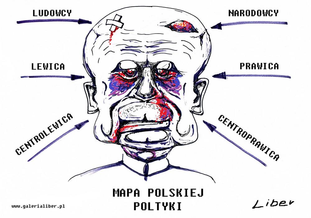 Mapa polityki na gębie pisana