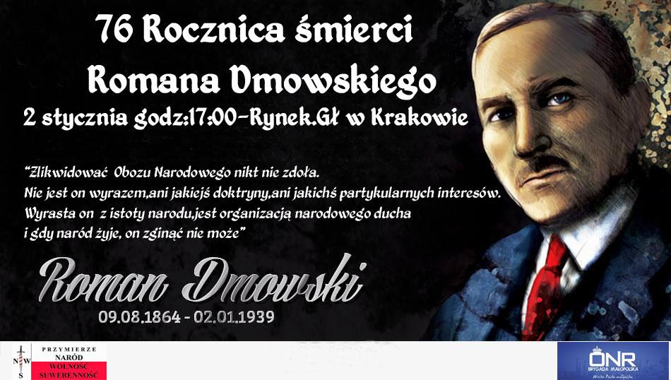 Zapraszamy na obchody 76 rocznicy śmierci Romana Dmowskiego w Krakowie