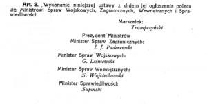 ustawa godło 1919 podpisy