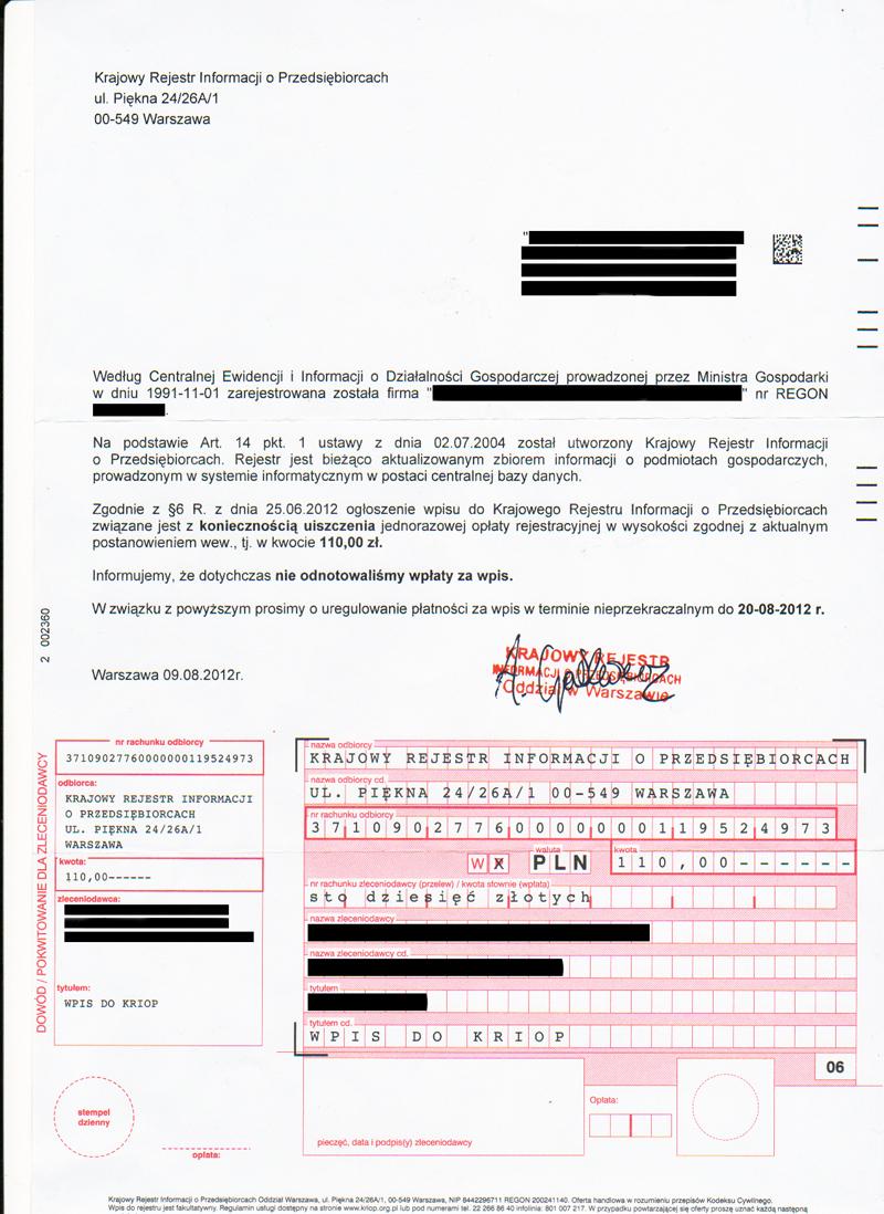 Uwaga na listy od Krajowego Rejestru Informacji o Przedsiębiorstwach!