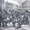 Porwanie dzieci polskich przez żołnierzy rosyjskich na Placu Zamkowym - obraz XIX wieczny nieznanego autora