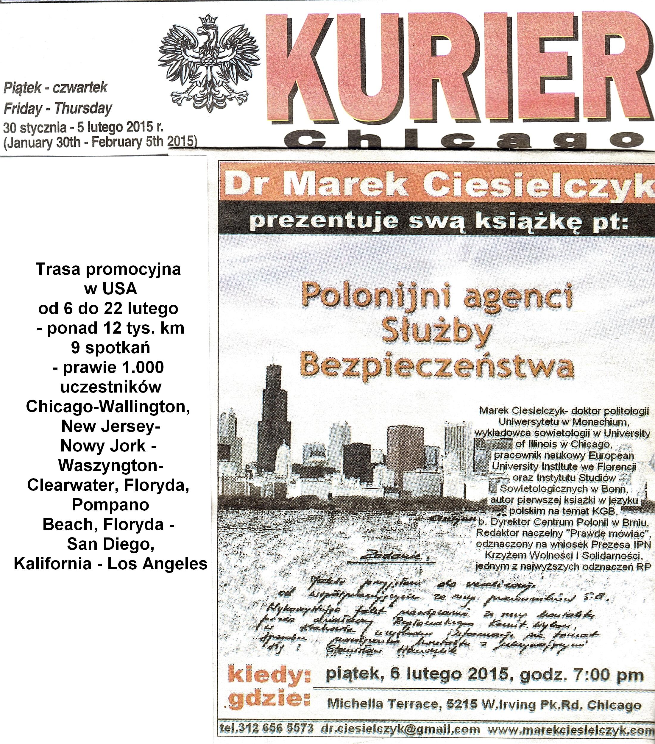 Marek Ciesielczyk prezentuje w USA swoją nową książkę: Polonijni agenci Służby Bezpieczeństwa