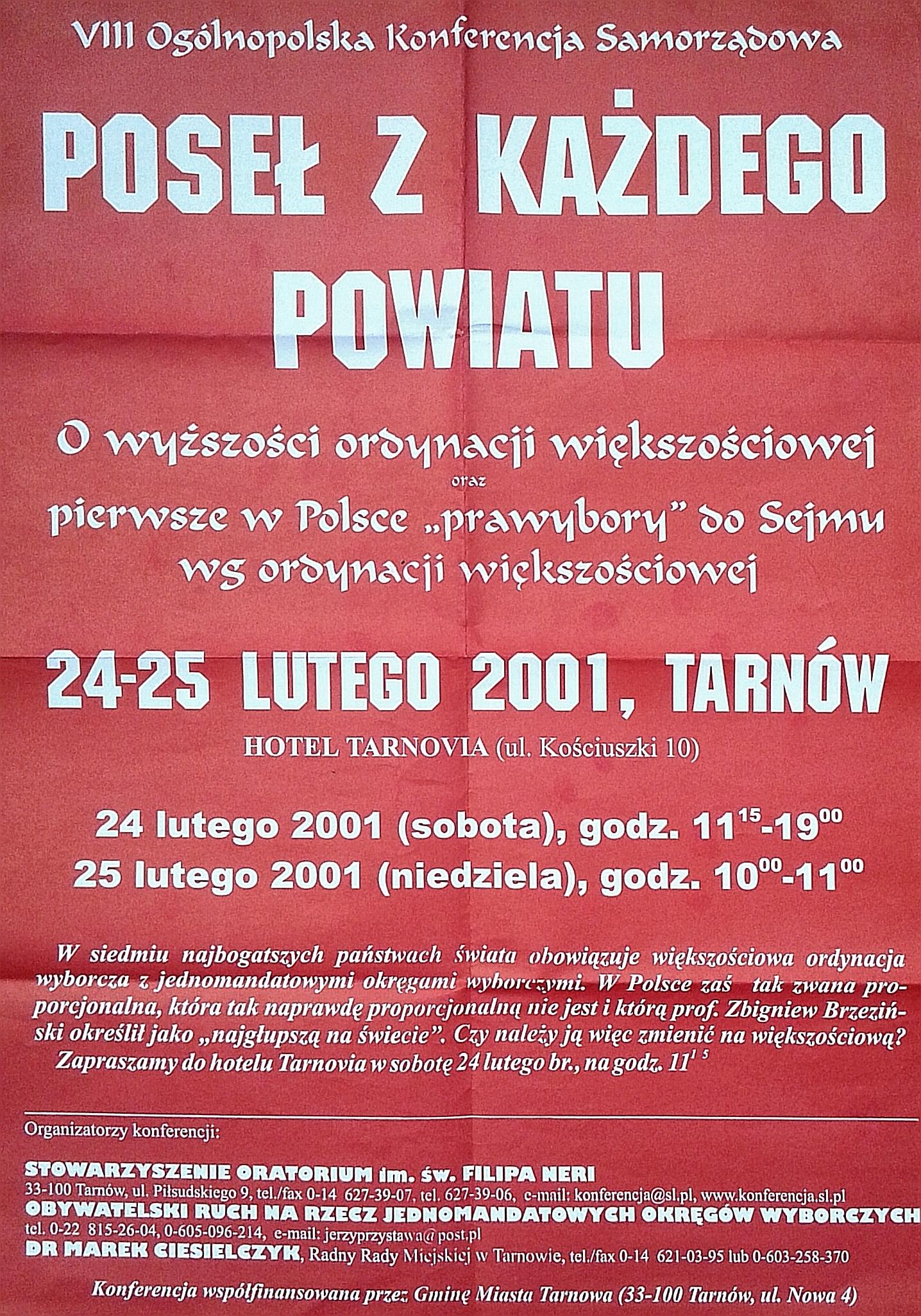 Pierwsze wybory w JOW odbyły się w Tarnowie!