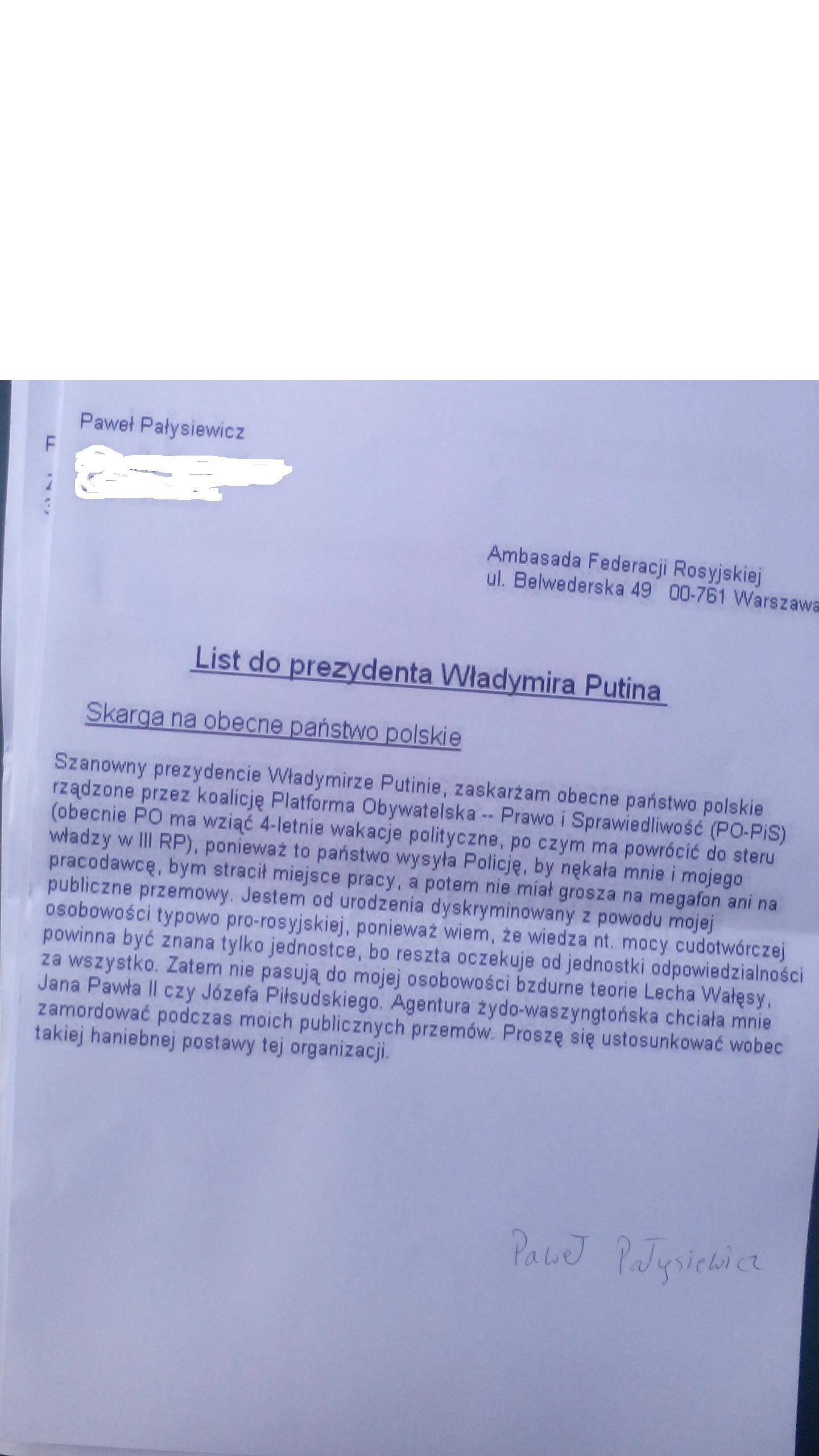 List do W. Putina