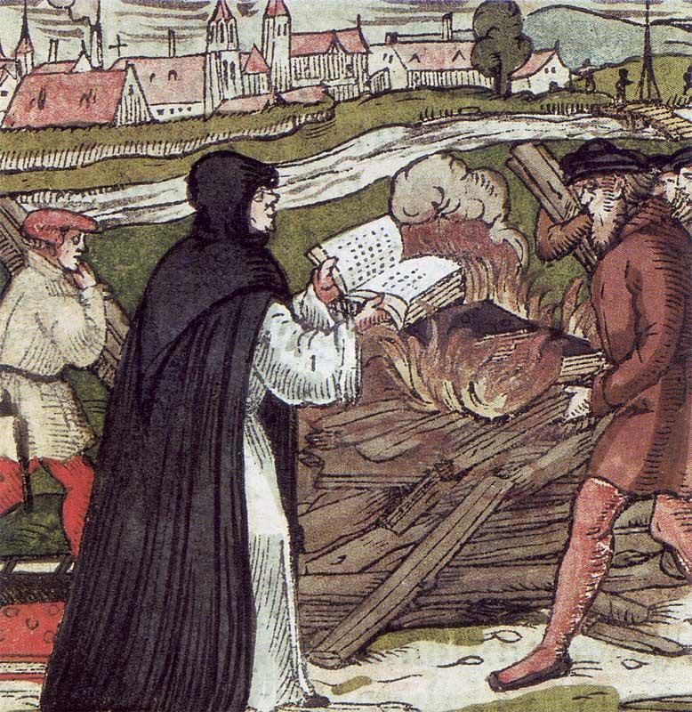 Znany heretyk, Marcin Luter, pali bullę papieską, foto: Wikimedia Commons