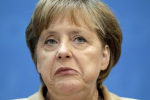 German Chancellor and chairwoman of the German Christian Democrats, Angela Merkel reacts during a news conference after the party's weekly executive committee meeting in Berlin, Germany, Monday, May 23, 2011. Chancellor Angela Merkel's conservative party slipped behind the environmentalist Greens to third place in a state election in Bremen on Sunday, its worst result in Bremen in over 50 years. (AP Photo/Michael Sohn)