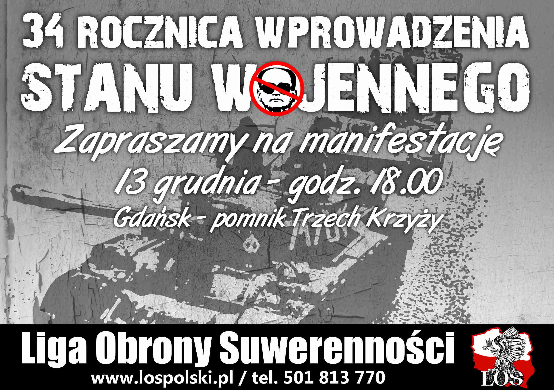 Manifestacja w 34. rocznicę stanu wojennego