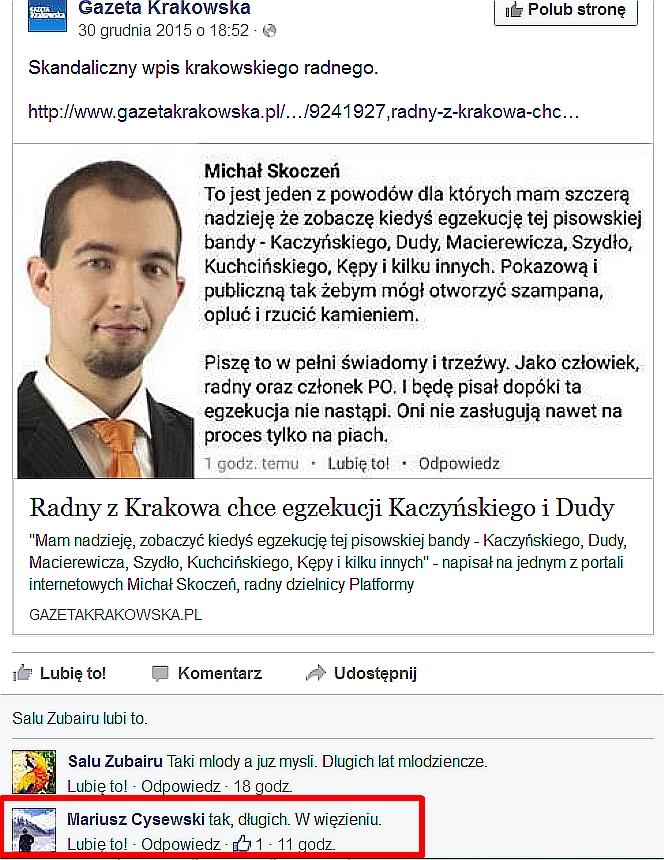 WOLNY CZYN: Radny PO z Krakowa chce śmierci Kaczyńskiego