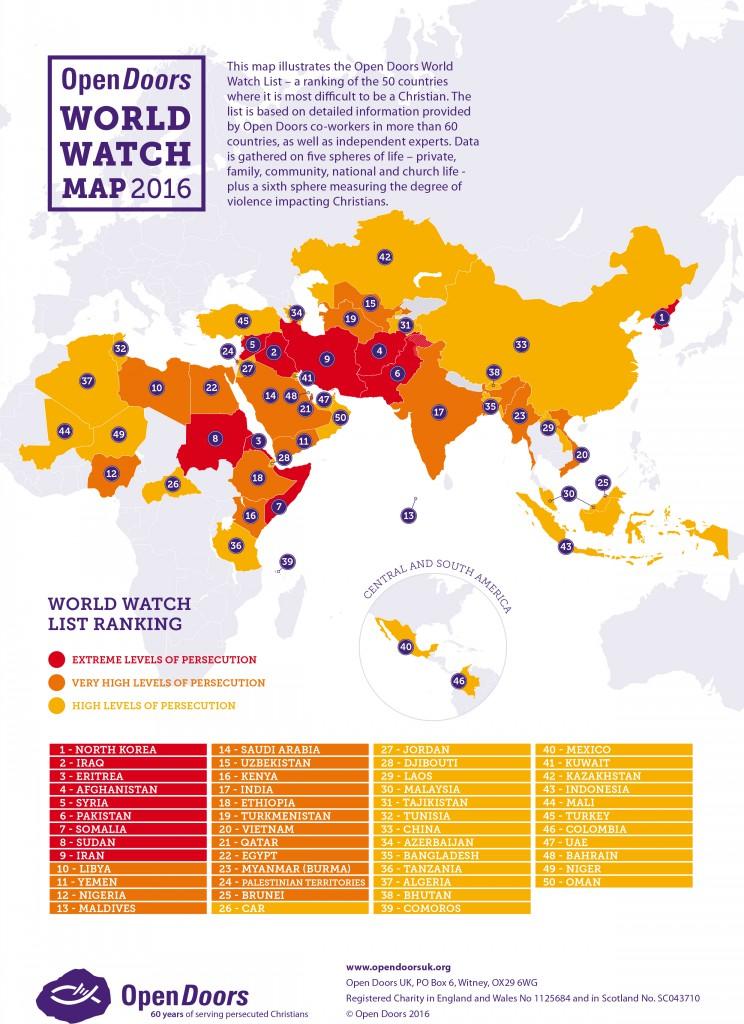 mapa przedstawiana stopień prześladowania Chrześcijan na świecie