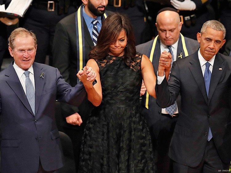 GW Bush tańczy w Dallas na pogrzebie zabitych policjantów
