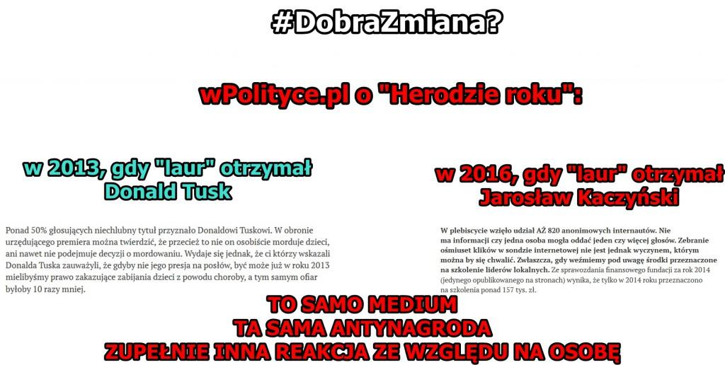 Zestawienie z fragmentami tekstów na wpolityce.pl