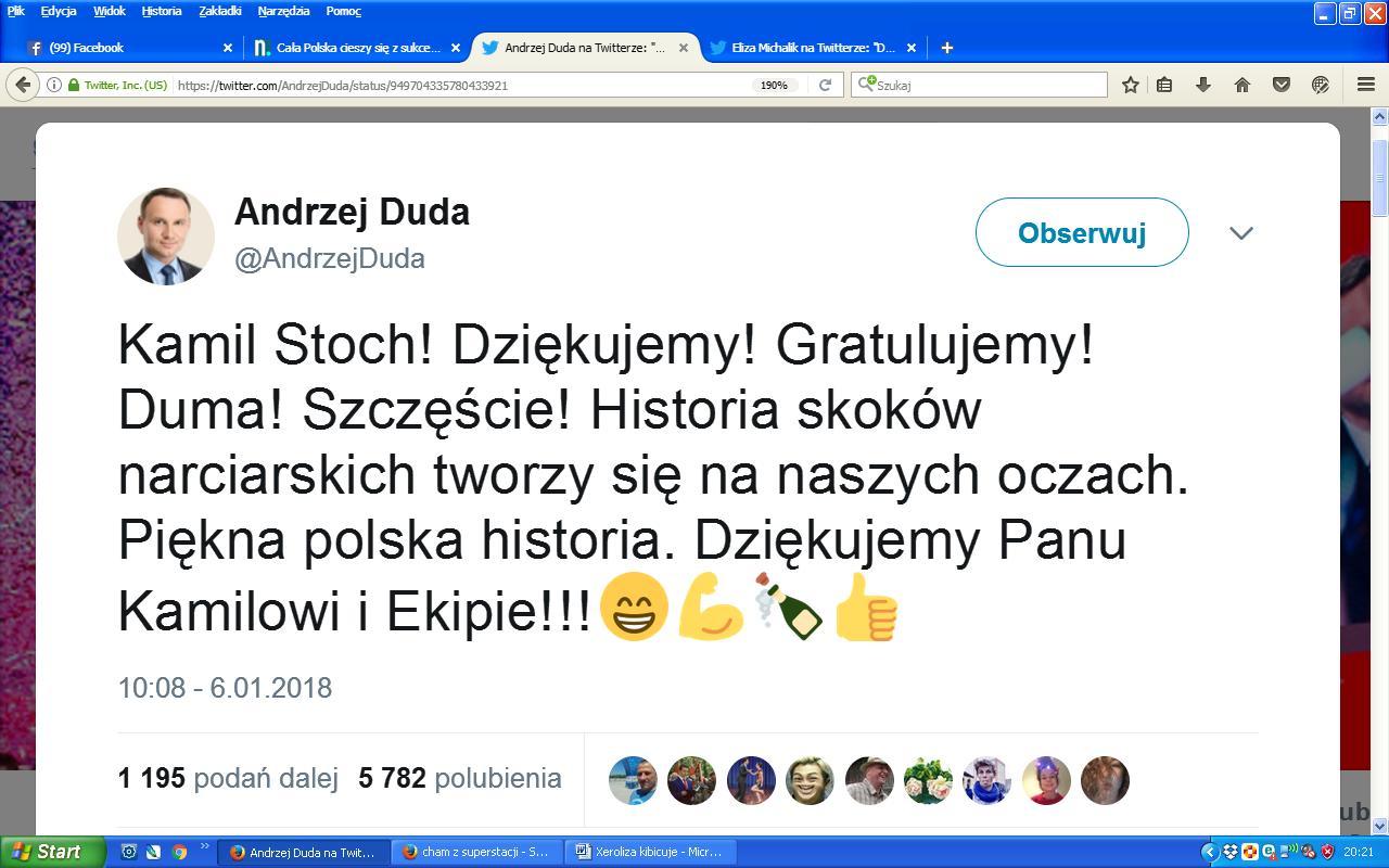 Duda Stoch gratulacje