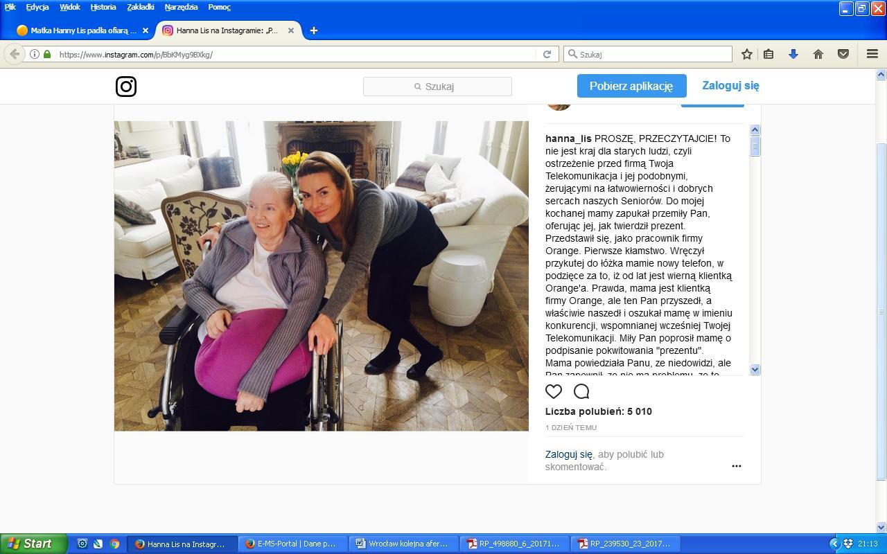 Hanna lis wpis instagram