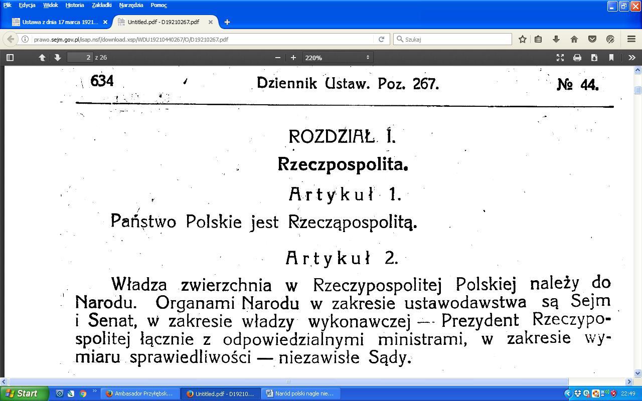 Konstytucja 1921 art.2