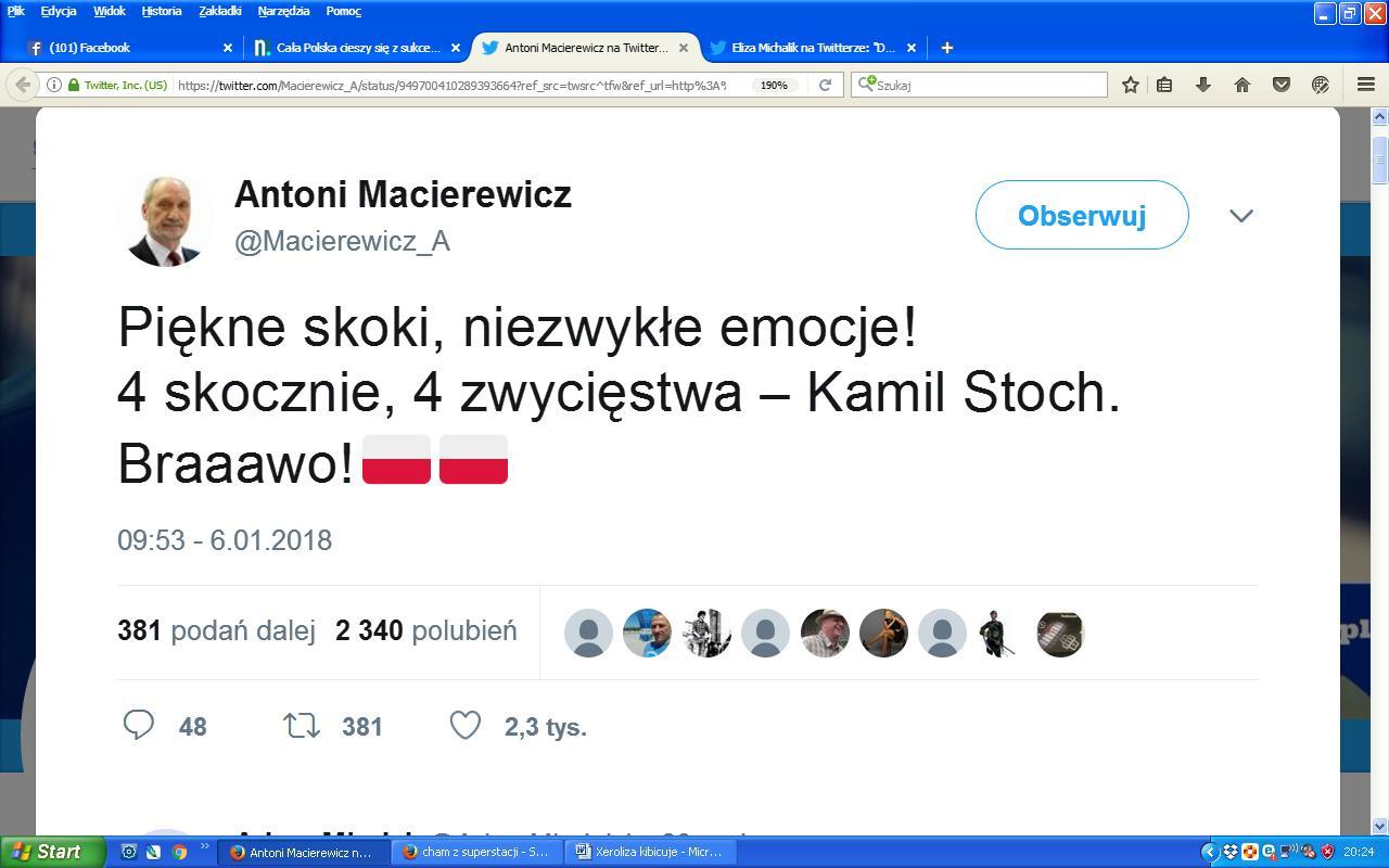 Macierewicz Stoch gratulacje