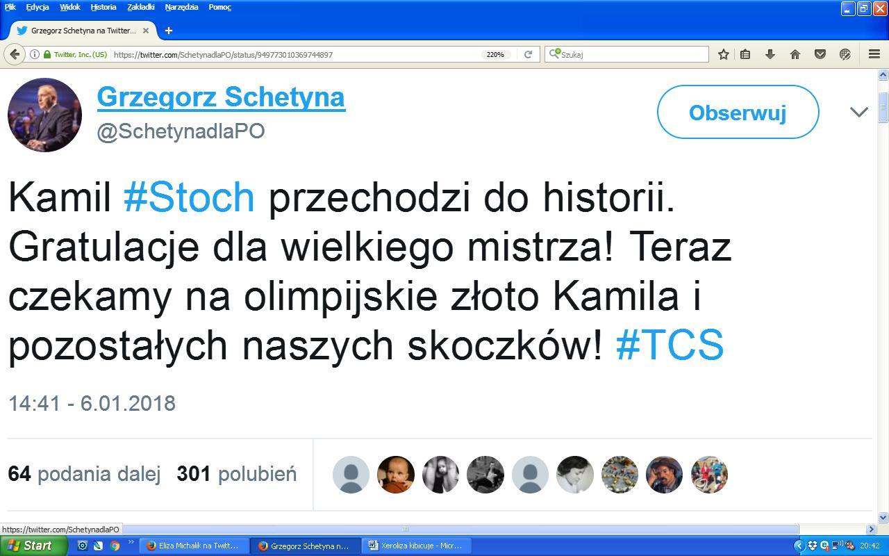 Schetyna Stoch gratulacje