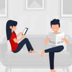 kobieta i mężczyzna siedzą na kanapie
