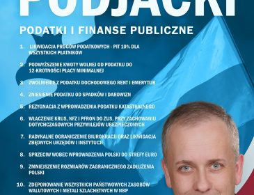 Podatki i finanse publiczne – program Wojciecha Podjackiego.